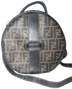 Fendi Mint Vintage Two-way Style Train Case/Hat Box Removable Strap Shoulder/Handheld Satchel in large F logo print in shades of brown coated canvas and brown leather