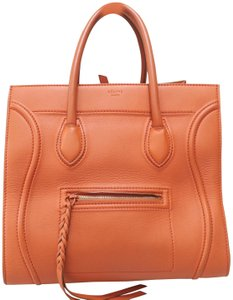Céline Medium Phantom Calfskin Leather Tote in ORANGE