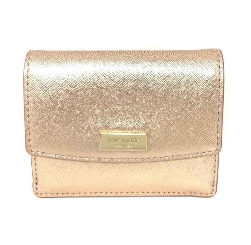 eeac769ec961a Kate Spade Kate Spade Petty Laurel way Mini ID Wallet with Key Ring Rose  Gold Image ...