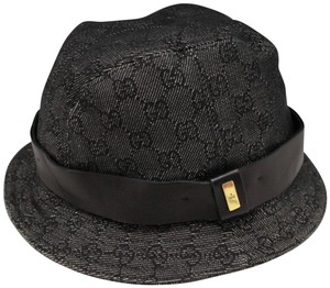 Gucci Charcoal Denim GG Monogram Bucket Hat Fisherman Fisher 232123