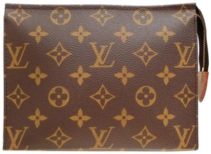 Louis Vuitton Pouch Pochette 26 Cosmetic Make Up Brown Clutch