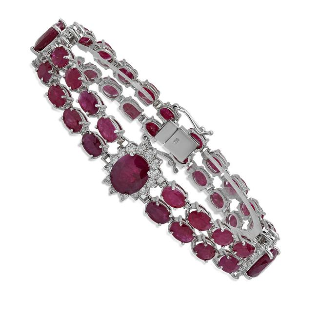Top Gold & Diamond Jewelry 14k White 31.38 Ctw Natural Ruby In Solid Bracelet Top Gold & Diamond Jewelry 14k White 31.38 Ctw Natural Ruby In Solid Bracelet Image 1