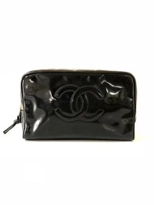 Chanel Black Patent Cosmetic Pouch make up Bag 232085
