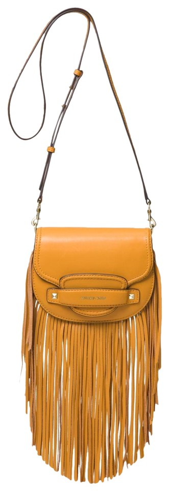 fcb117a48a40 Michael Kors Cary Small Fringed Saddle 32f8g0cc5l Marigold Leather ...