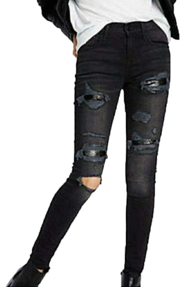 aed705cfc6e Express Black/Gray Distressed Sequin Legging Skinny Jeans. Size: 24 (0 ...