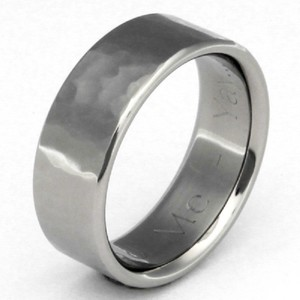 Apples of Gold Flat Titanium Hammered Band - Made In The Usa Ring