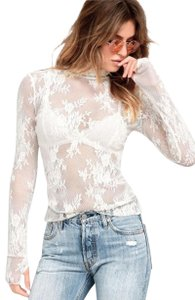 Free People Sheer + Lacey Thumbhole Sleeves Turtleneck Floral Lace Stretchy Top Ivory