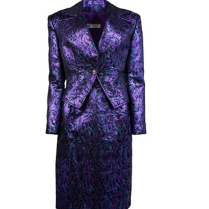 Balmain Metallic Purple with Shades Of Blue and Black Brocade 2 Piece Skirt Suit Vintage Bridesmaid/Mob Dress Size 10 (M)