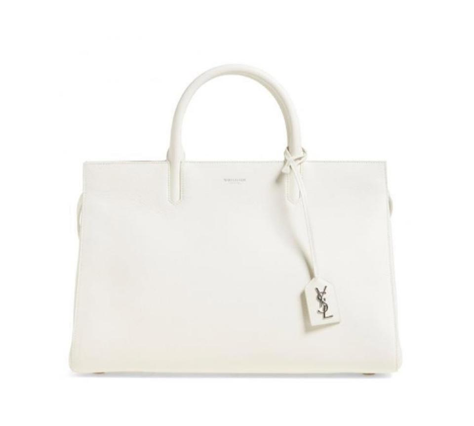 6bd1e884cb Saint Laurent Cabas Rive Gauche Medium White Grained Leather Tote ...