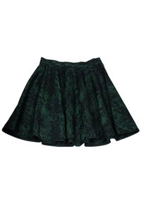 Torn by Ronny Kobo Black Lace Flared Skirt Green