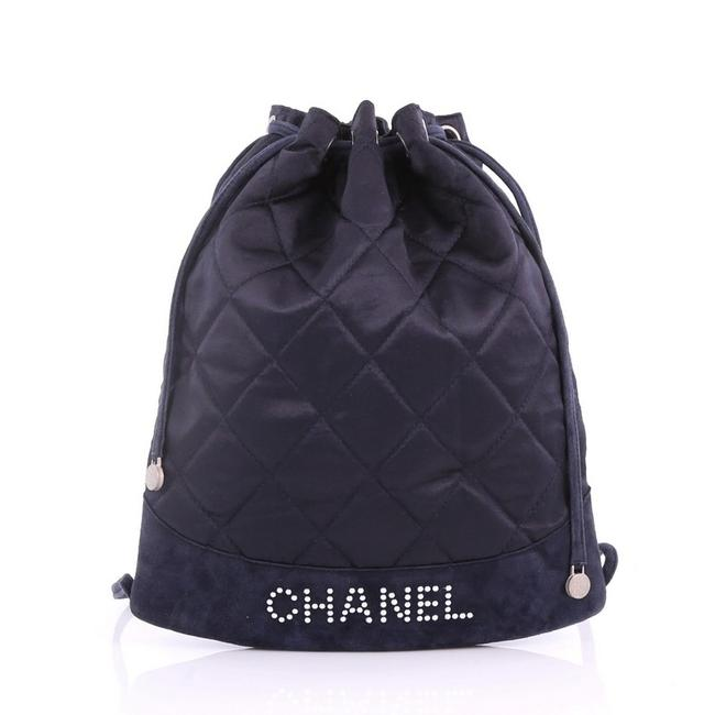 Item - Drawstring Vintage Quilted with Suede Medium Navy Satin Backpack