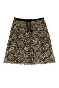 Anna Sui Brown Lace Skirt gold