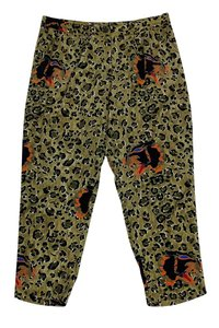 Nieves Lavi Leopard Print Tiger Straight Pants Green