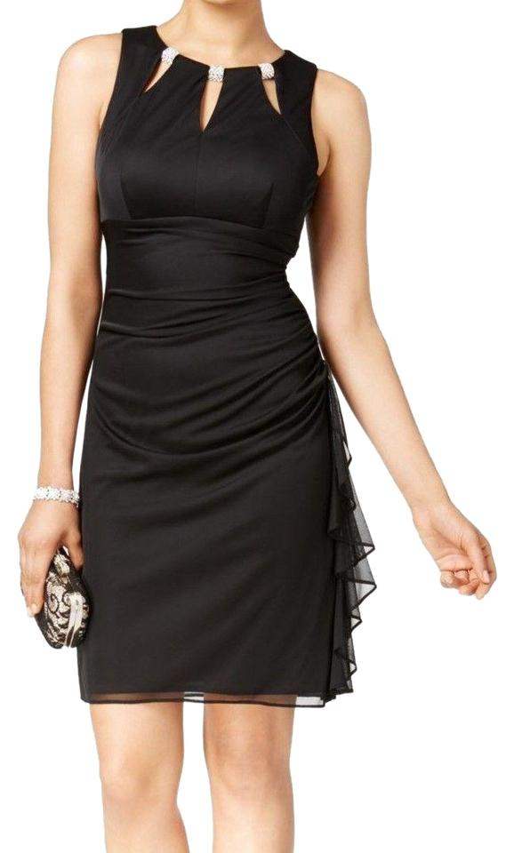 3a2f2a851e Betsy   Adam Black New Women s Embellished Ruffled Sheath Cocktail Dress