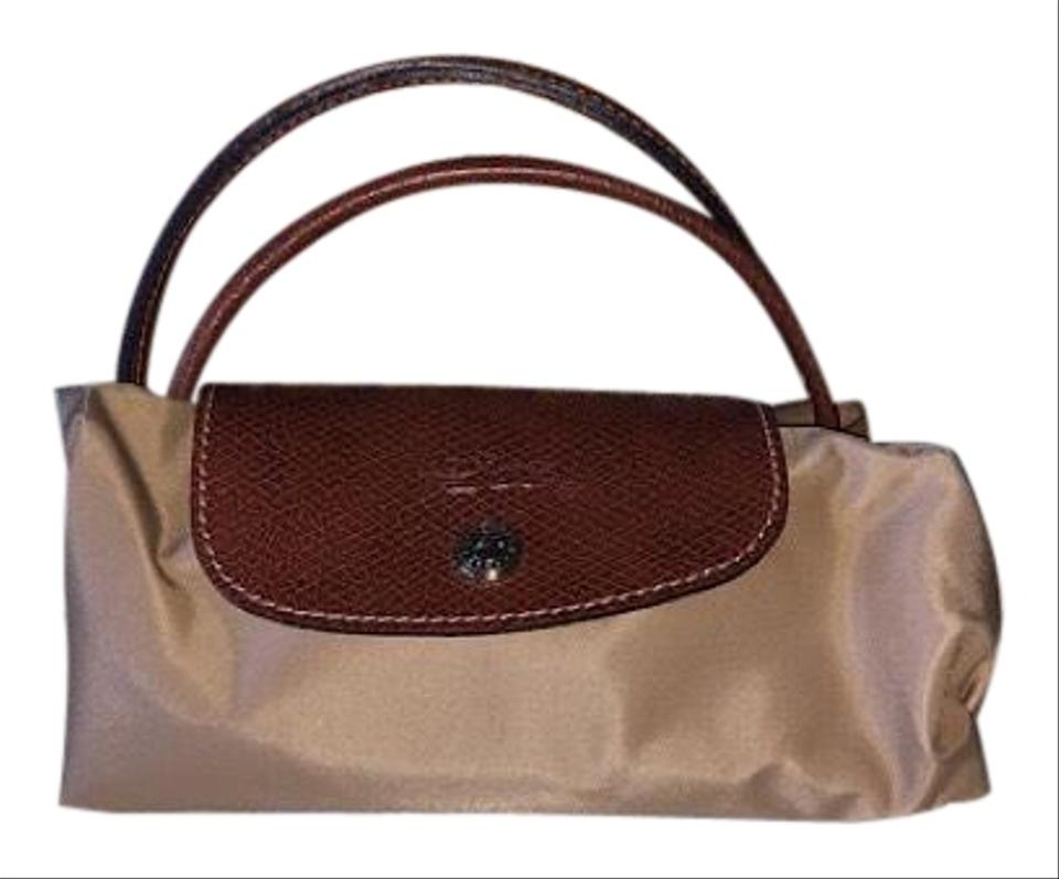 af7ffc34cc10 Longchamp Le Pliage Small Tote and Mini Purse Beige Nylon Weekend ...
