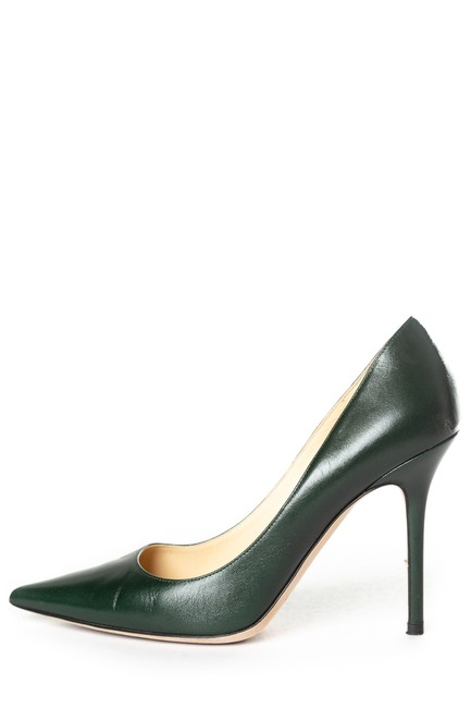 Item - Green Evergreen Leather Pointed-toe Pumps Size EU 39.5 (Approx. US 9.5) Regular (M, B)