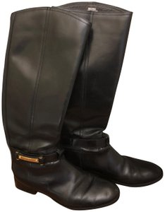 Tory Burch Leather Logo Black Boots