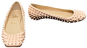 Christian Louboutin Gozul Spikes Patent Leather Pink Flats