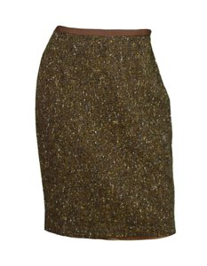 Blumarine Tweed Pencil Skirt Brown