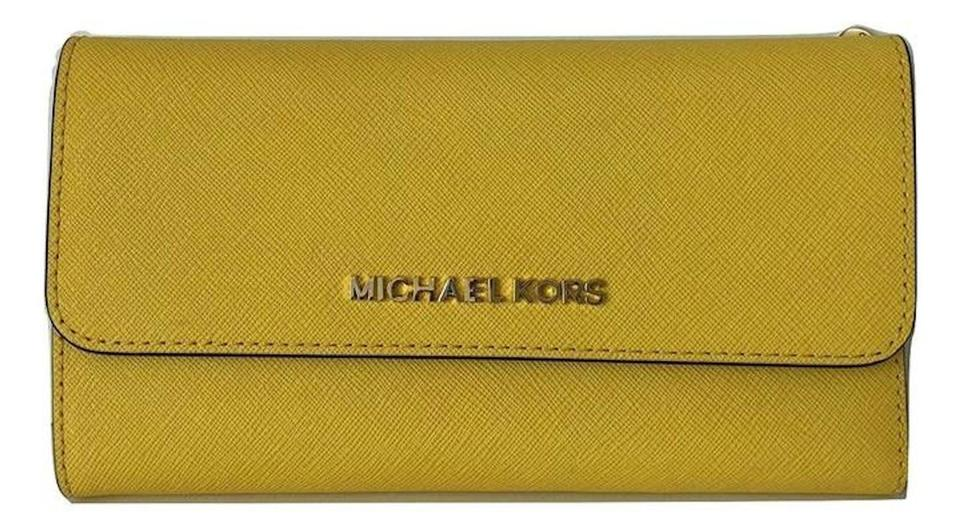 57181dfb629a Michael Kors Michael Kors Jet Set Travel Large Trifold Wallet Saffiano  Leather Image 0 ...
