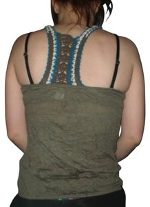 Charlotte Russe Distressed Racerback Crochet Army Top Green