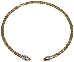 Charriol CHARRIOL GENEVE 18kt Gold Silver Cable Choker Necklace Citrine Stones