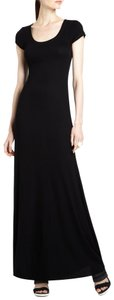 Black Maxi Dress by BCBGMAXAZRIA Ribbed Cap Sleeve