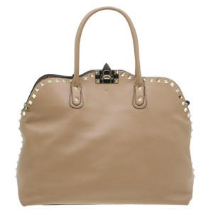 Valentino Rockstud Leather Fabric Tote in Beige