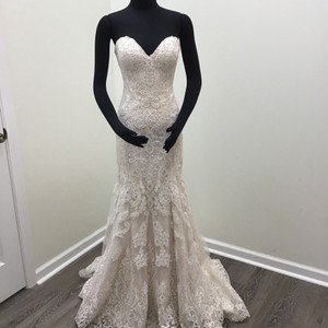 Martina Liana Ivory/Stone/Sable Lace/Tulle/Matte-side Lustre Satin 803 Formal Wedding Dress Size 8 (M)