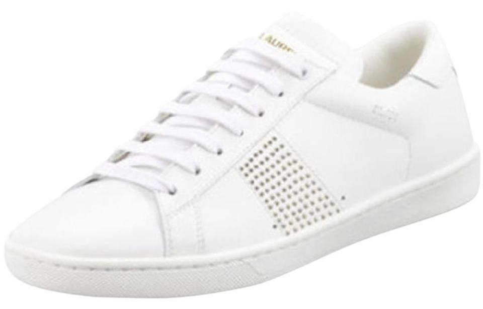 33ea0aeeb363 Saint Laurent Leather Sneakers Studded Lace-up White Athletic Image 0 ...