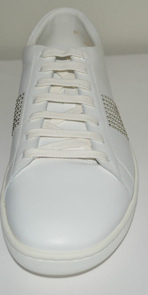 c9d847bcdaef Saint Laurent Leather Sneakers Studded Lace-up White Athletic Image 10.  1234567891011
