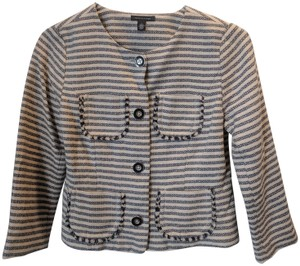 Tommy Hilfiger Striped Textured Spring Winter Navy and Nude Blazer