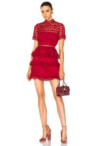 self-portrait Star Lace Red Star Lace Star Lace Panelled Red La Dress