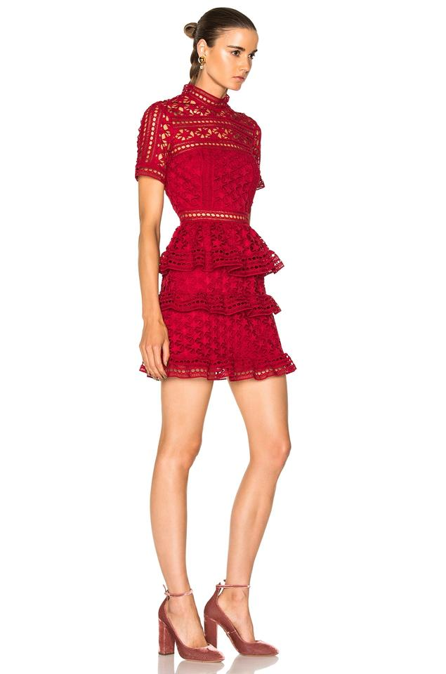 74cf8111d802 self-portrait Star Lace Red Star Lace Star Lace Panelled Red La Dress Image  3. 1234