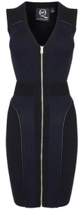 MCQ by Alexander McQueen short dress Navy Blue Lana Wool Piping Bodycon Front Zipper Garment Bag on Tradesy