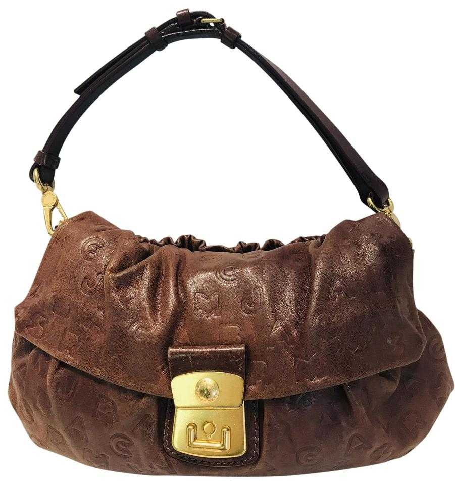 cb44a36fb45 Marc by Marc Jacobs Embossed Logo Brown Leather Shoulder Bag - Tradesy