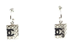 Chanel CC Cambon silver drop dangle pierced stud earrings