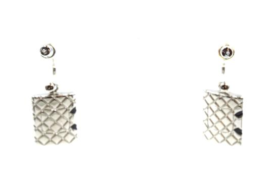 Chanel CC Cambon silver drop dangle pierced stud earrings Image 2