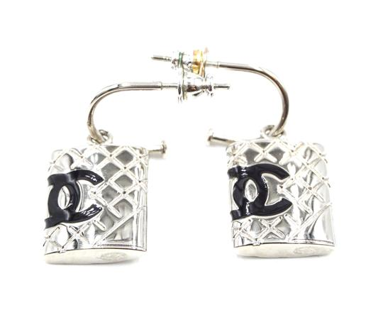Chanel CC Cambon silver drop dangle pierced stud earrings Image 3