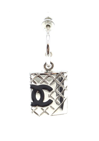 Chanel CC Cambon silver drop dangle pierced stud earrings Image 9