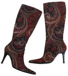 Bronx Heels Tall Red, gold, black paisley print Boots