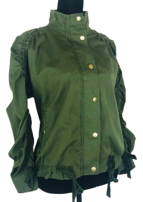 J.Crew Field Rushed Sleeve Green Jacket Image 0