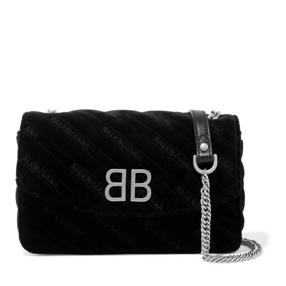465645b4c7af Balenciaga Bb Chain Embroidered Quilted Velvet Shoulder Cross Body ...