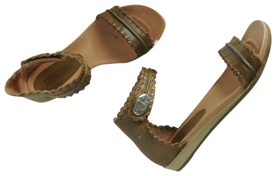 edd2abadc68 PIKOLINOS Olive Green   Brown Alcudia Ankle Strap Whip Stitch Embellished Leather  Sandals