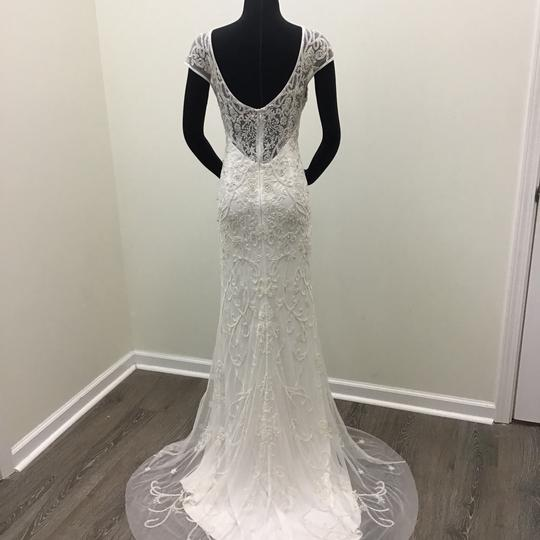 Theia Ivory Beaded Tulle Piper Formal Wedding Dress Size 8 (M) Image 1