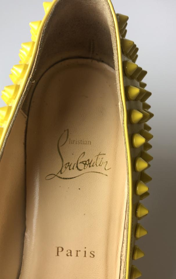 042d03c35c7e Christian Louboutin Yellow Pigalle 85 Spikes Patent Leather Pumps Size EU  37.5 (Approx. US 7.5) Regular (M