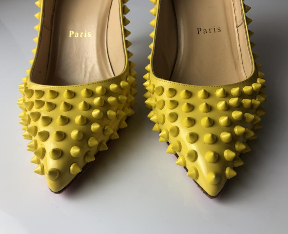 051cdbc46fa3 Christian Louboutin Yellow Pigalle 85 Spikes Patent Leather Pumps ...