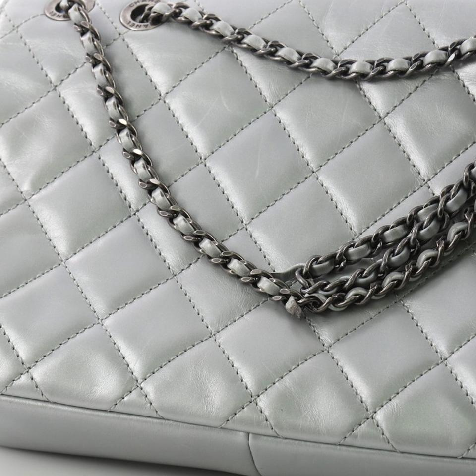 9466115dfd00e9 Chanel Classic Flap Pleated Chain Quilted Medium Grey Calfskin ...