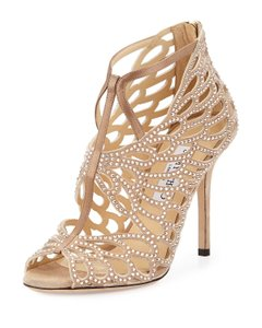 Jimmy Choo Jeweled Caged Nude Pumps