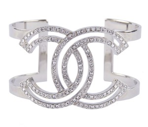 Chanel NEW CHANEL CRYSTAL SPARKLING CC LOGO BRACELET CUFF HOLIDAY BOX NWT